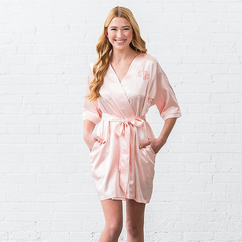 Blush Pink Satin Robe
