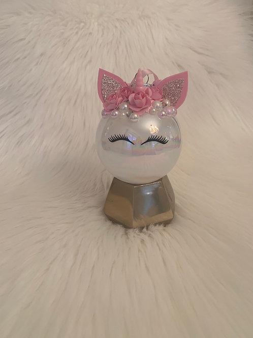Unicorn Ornament Pink & White