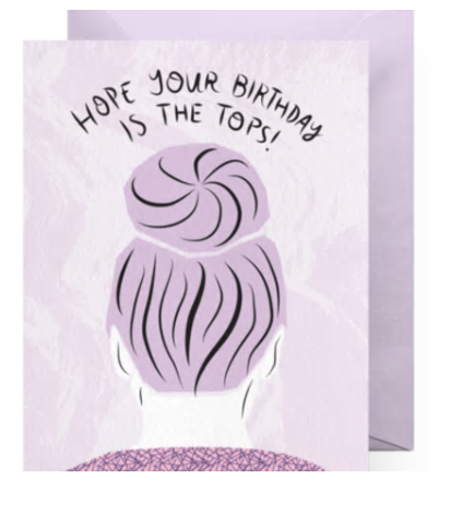 Top Knot Birthday Card
