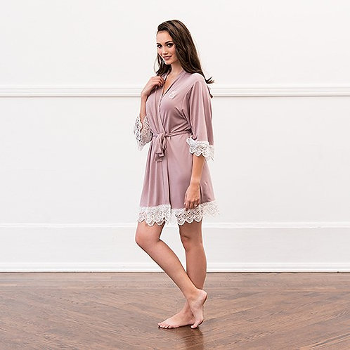 Mauve Jersey Knit Robe With Lace Trim
