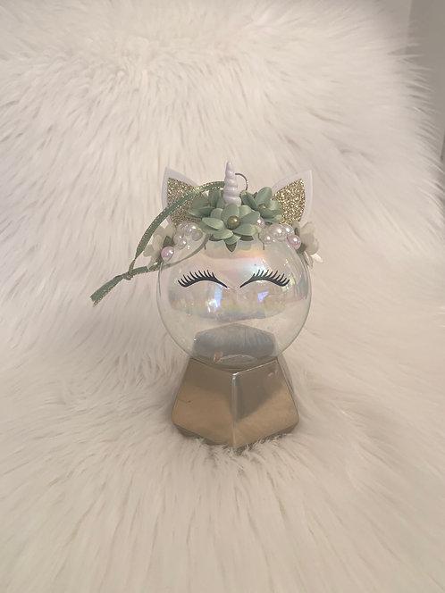 Unicorn Ornament Green & White
