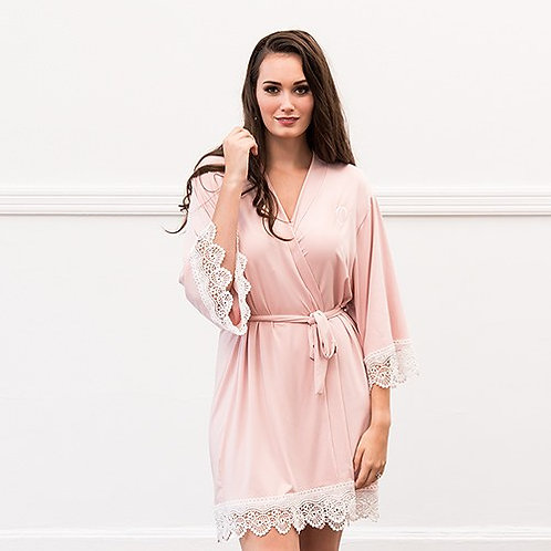 Blush Pink Jersey Knit Robe With Lace Trim