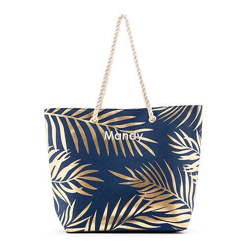 Navy Blue Palm Leaf Tote Bag