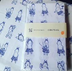 「こおにちゃん」 Ko'onichan - Tenugui/Hand towel  トビラボで販売しているオリジナルキャラクターの手ぬぐい。トビラボのある地域の名所「地獄」にちなんだオニがモチーフ。  Tenugui/Japanese hand towel with original character Ko'onichan.  The character is developed from Oni/Japanese ogre which is  a symbol for the hell of hot spring in Kannawa area.