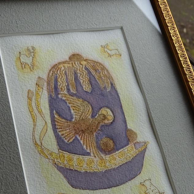 『皇帝の幸運の帽子』  インクと水彩画 2017年My Museum II 展