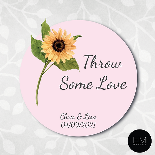 Sunflower & Pink Background [Throw Some Love Stickers]