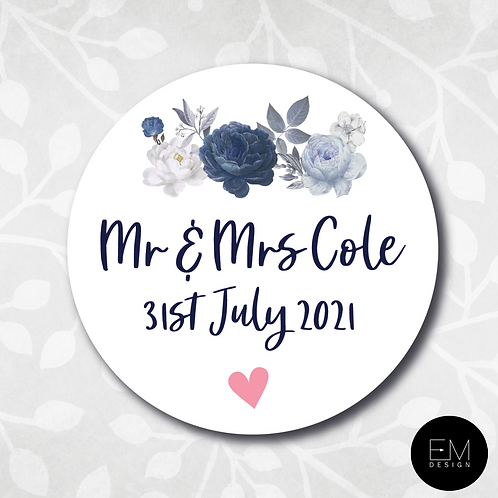 Navy Blue Floral [Names/Initial Stickers]