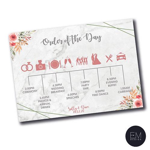 Timeline Postcard: Pink, Grey & Sage Green Floral