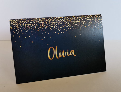 Navy & Gold Confetti Place Cards