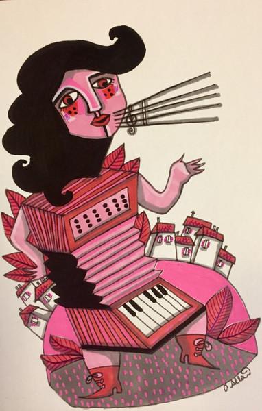 Femme accordéon