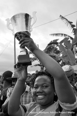 Holding up the cup