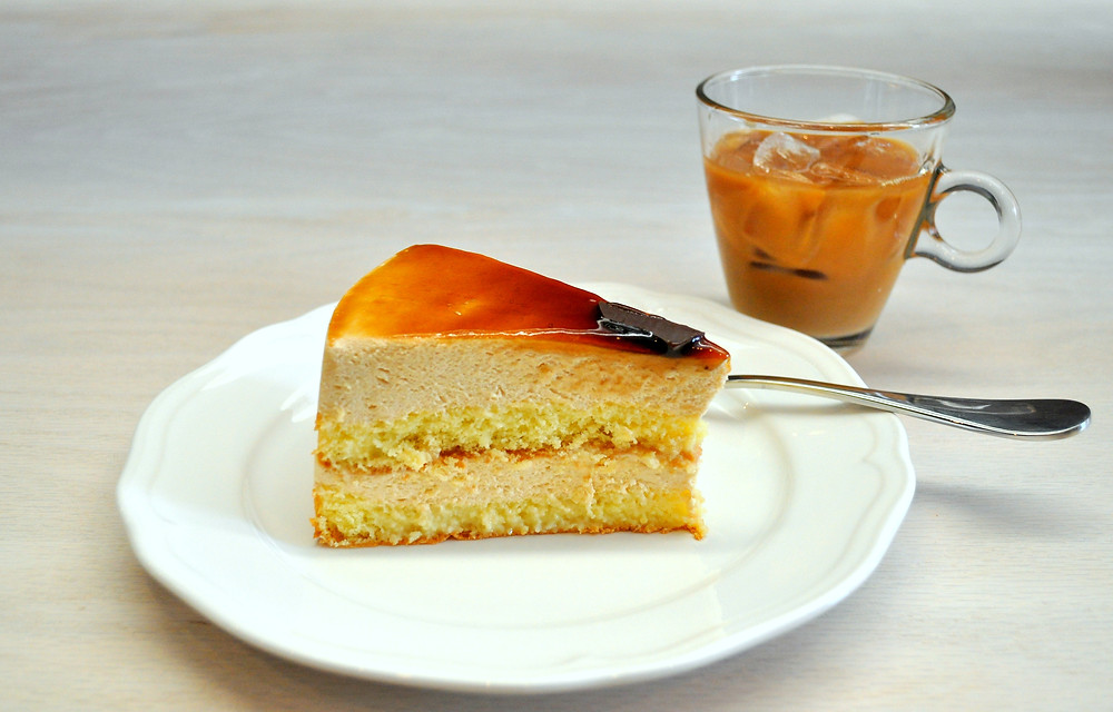 Caramel tres leche cake and cold pressed Oslo coffee at Nostrand Cafe