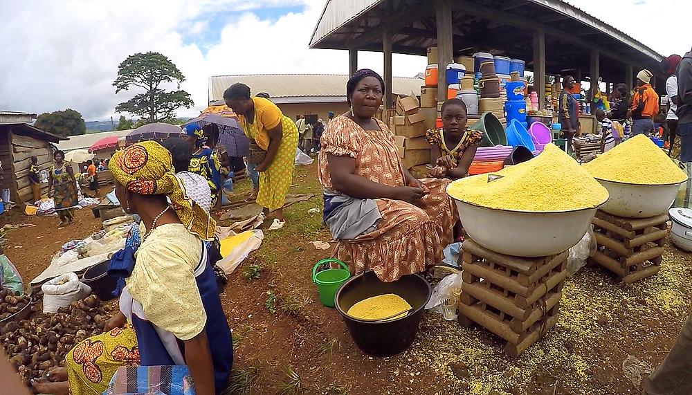 Women in market in Bali, Cameroon; photo by Melissa Banigan