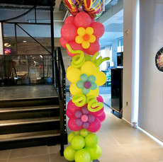 Triple Stacked Flower Balloon Column