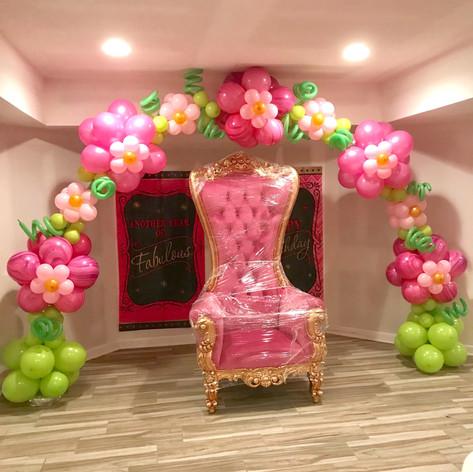 Flower Balloon Arch in pinks