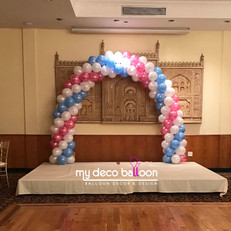 White, pink and baby blue balloon arch
