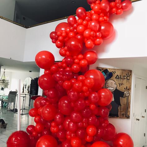 Red Organic balloon cascade