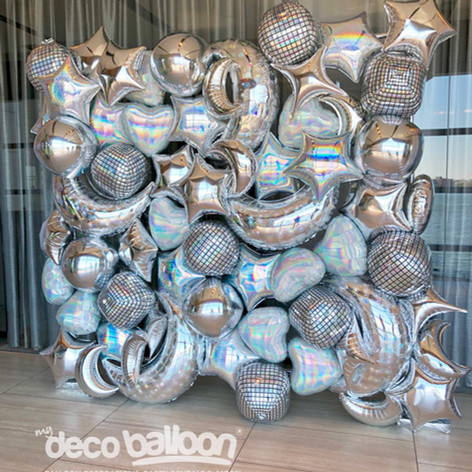 Silver Foil Collage Balloon Wall