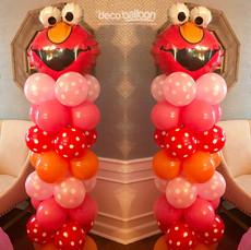 Girly Elmo Balloon Columns