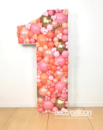1 Balloon Mosaic in oranges and pink
