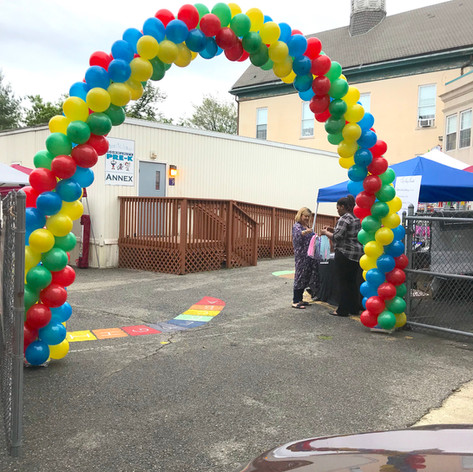 Classic colorful balloon arch