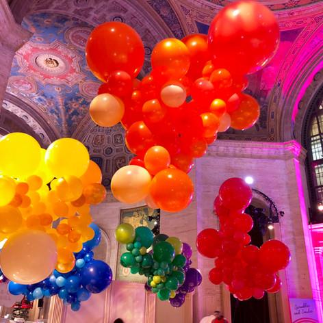 Organic Rainbow Balloon Cloud Centerpieces