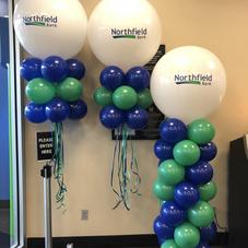 Northfield Bank Logo Balloon Columns