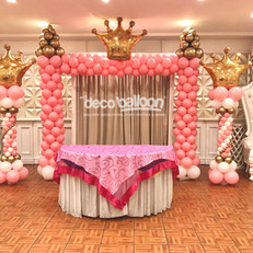 Pink Castle balloon arch