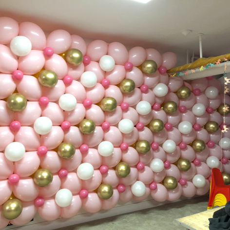 Classic Balloon Wall in Pinks, white and gold