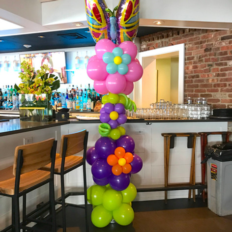 Flowers and Butterfly Balloon Column