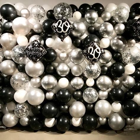 Organic Black and White Balloon Wall