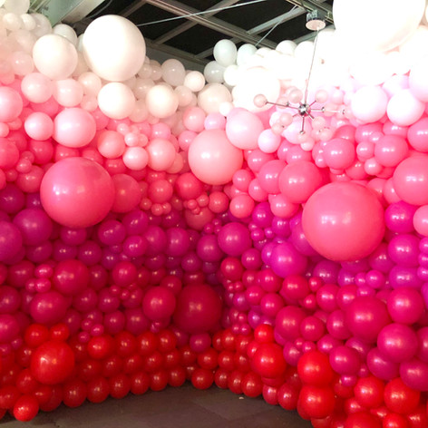 Pink Ombre organic balloon wall