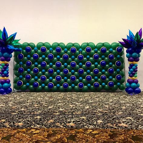 Peacock Themed Balloon Wall