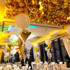 Golden mylar foil ceiling balloons