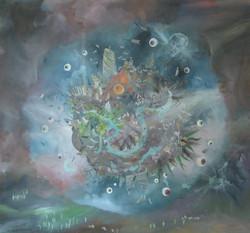 Un monde merveilleux, huile sur toile, 145 x 135 cm, 2001