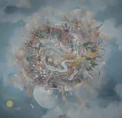 L'oeil de Moscou, huile sur toile, 100 x 100 cm, 2008