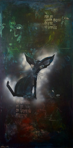 Black Cat, pigments sur toile, 200 x 100 cm, 2014