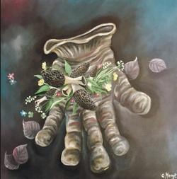 Morilles sur gant, huile sur toile, 50 x 50 cm, 2020