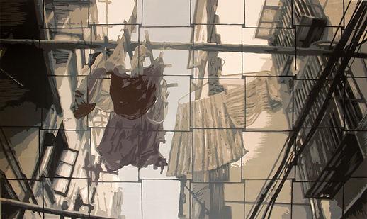 3,方小龙·版画·绝版套色木刻·《中国式晾晒·NO.2》·60cm×90cm.j