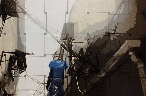 2,方小龙·版画·绝版套色木刻·《中国式晾晒·NO.1》·60cm×90cm.j