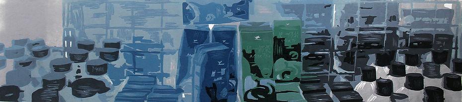 14,方小龙·版画·绝版套色木刻·《唤·醒》 组图1·  18cm×90cm.j