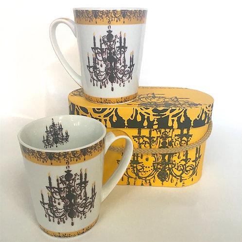 Coffee/Tea Mugs, Chandelier Gold (set of 2)