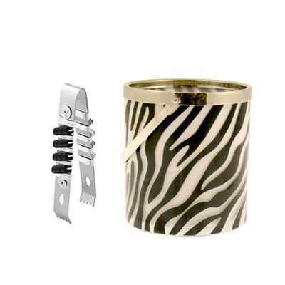 Zebra Ice Bucket and Tongs