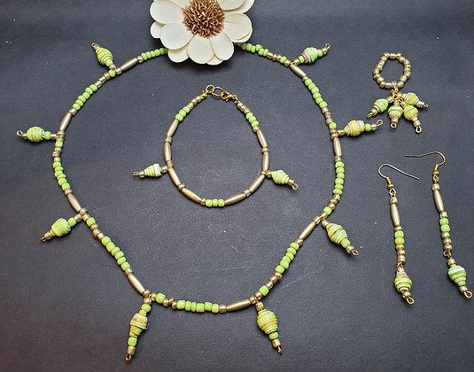 VM156 סט שרשרת,צמיד, טבעת ועגילים