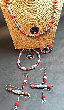 VM116 סט שרשרת, צמיד, טבעת ועגילים
