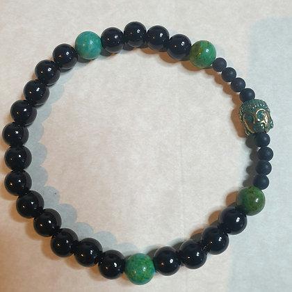 צמיד אבן טבעית  ירוק ואבן  טבעית לבה שחור VM300