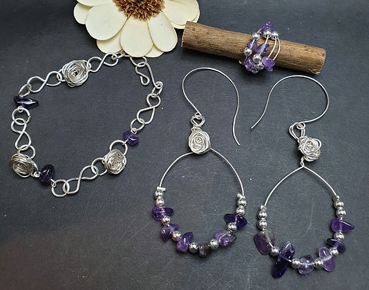 VM237 סט צמיד, טבעת ועגילים