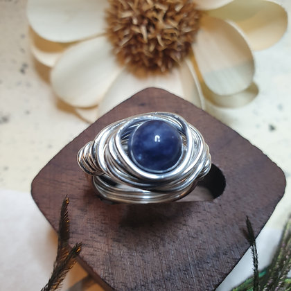 טבעת  עם אבן טבעית  כחול  VM330