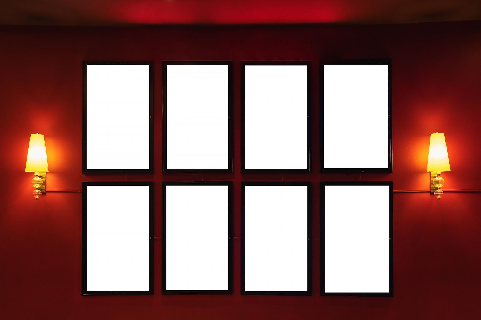 Movie poster cinema light box or Display frame cinema lightbox or billboards with white bl