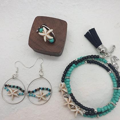 סט  צמיד, טבעת ועגילים  עם כוכבים הים  VM 304